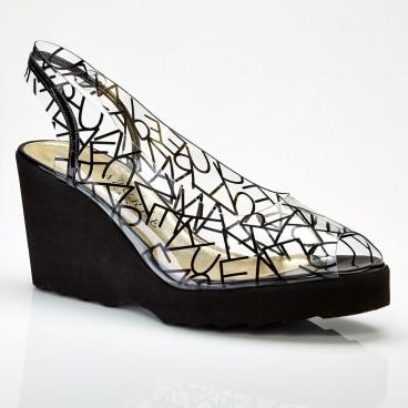Sandale transparente compensée DAZUR pour femme - Azurée - Made in France