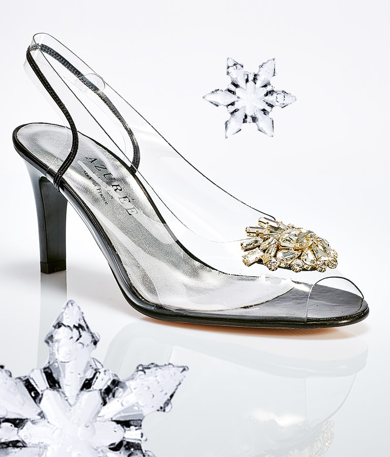 Azurée : chaussures à effet cristal